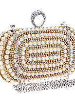 cheap -Women's Crystals / Pearls Polyester Evening Bag Striped Black / Gold / Silver