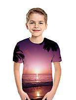 cheap -Kids Boys' Active Street chic Print Patchwork Print Short Sleeve Tee Fuchsia