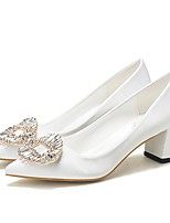 cheap -Women's Wedding Shoes Chunky Heel Pointed Toe Rhinestone Satin Spring & Summer White / Burgundy
