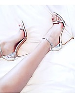 cheap -Women's Sandals Stiletto Heel Open Toe Buckle PU Business / Vintage Spring &  Fall / Spring & Summer Gold / Silver / Party & Evening / Color Block