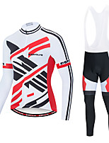 cheap -EVERVOLVE Men's Long Sleeve Cycling Jersey with Bib Tights Polyester Black Black / White Stripes Geometic Bike Clothing Suit Thermal / Warm Breathable 3D Pad Quick Dry Sweat-wicking Sports Stripes