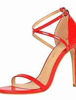 cheap -Women's Sandals Stiletto Heel Open Toe Faux Leather Casual / Minimalism Spring / Summer Black / Nude / White