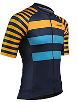 cheap -21Grams Men's Short Sleeve Cycling Jersey 100% Polyester Blue+Orange Stripes Bike Jersey Top Mountain Bike MTB Road Bike Cycling UV Resistant Breathable Quick Dry Sports Clothing Apparel / Stretchy