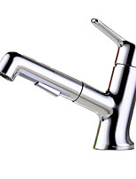 cheap -Bathroom Sink Faucet - Rotatable / Pullout Spray Chrome Centerset Single Handle One HoleBath Taps