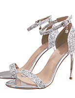 cheap -Women's Sandals Stiletto Heel Open Toe Buckle / Sequin Synthetics Sweet Walking Shoes Spring &  Fall / Spring & Summer Silver / Party & Evening
