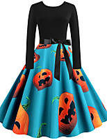 cheap -Women's Party Daily Vintage Style Street chic Swing Dress - Print Patchwork Print Black S M L XL
