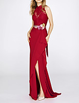 cheap -Mermaid / Trumpet Jewel Neck Sweep / Brush Train Polyester Sexy / Red Engagement / Formal Evening Dress with Sash / Ribbon / Split / Lace Insert 2020