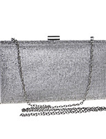 cheap -Women's Crystals / Chain Polyester Evening Bag Solid Color Black / Gold / Silver