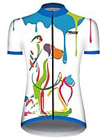 Недорогие -21Grams Жен. С короткими рукавами Велокофты Синий / белый Кот С собакой Животное Велоспорт Джерси Верхняя часть Горные велосипеды Шоссейные велосипеды Устойчивость к УФ Дышащий Быстровысыхающий