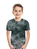 cheap -Kids Boys' Active Street chic Geometric 3D Patchwork Print Short Sleeve Tee Dark Gray
