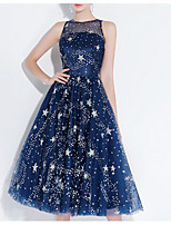 cheap -A-Line Illusion Neck Knee Length Polyester Glittering / Blue Cocktail Party / Homecoming Dress with Sequin 2020