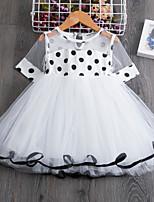 Недорогие -Дети Дети (1-4 лет) Девочки Активный Милая Горошек Пэчворк С короткими рукавами Выше колена Платье Красный