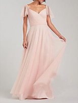 cheap -A-Line Empire Pink Wedding Guest Prom Dress V Neck Sleeveless Floor Length Chiffon with Pleats 2020