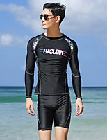 cheap -Men's Rash Guard Dive Skin Suit Two Piece Swimsuit Elastane Swimwear UV Sun Protection Breathable Quick Dry Long Sleeve Swimming Surfing Water Sports Patchwork Autumn / Fall Spring Summer
