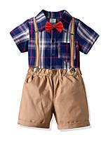 cheap -Toddler Boys' Basic Birthday Party Party & Evening Plaid Short Sleeve Regular Regular Clothing Set Blue