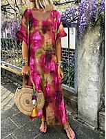 cheap -Women's Shift Dress - Print Purple Maxi Fuchsia Royal Blue S M L XL