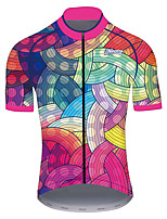 cheap -21Grams Men's Women's Short Sleeve Cycling Jersey 100% Polyester Red+Blue Polka Dot Stripes Gradient Bike Jersey Top Mountain Bike MTB Road Bike Cycling UV Resistant Breathable Quick Dry Sports