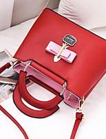 cheap -Women's Zipper PU Top Handle Bag Solid Color Black / Wine / Blushing Pink