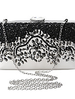 cheap -Women's Crystals / Flower Polyester Evening Bag Floral Print Black