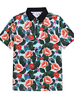 cheap -Men's Holiday Weekend Rock / Exaggerated Polo - Floral / Geometric / 3D Tropical Leaf, Print Rainbow