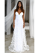 cheap -A-Line Floral White Engagement Formal Evening Dress V Neck Sleeveless Floor Length Tulle with Appliques 2020
