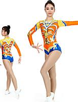 cheap -Rhythmic Gymnastics Leotards Artistic Gymnastics Leotards Women's Girls' Kids Leotard Spandex High Elasticity Handmade Long Sleeve Competition Dance Rhythmic Gymnastics Artistic Gymnastics Orange