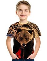 cheap -Kids Boys' Active Punk & Gothic 3D Plaid Animal Short Sleeve Tee Rainbow