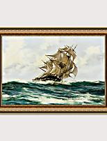 Недорогие -обрамленная печать европейского типа картина маслом гостиная диван фон морской пейзаж парусник обычный парусный пейзаж готов повесить декоративная живопись