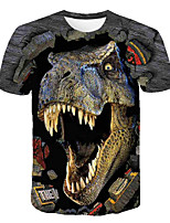 cheap -Kids Boys' Basic Street chic Dinosaur Color Block 3D Animal Print Short Sleeve Tee Rainbow