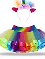 cheap -Kids Girls' Color Block Dress Rainbow