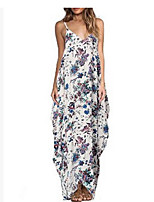 cheap -Women's Maxi Red Blue Dress Shift Floral Strap V Neck S M
