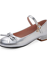 cheap -Women's Heels Chunky Heel Round Toe Bowknot PU British / Preppy Spring &  Fall Gold / Silver / Wedding / Party & Evening