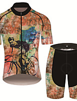 cheap -21Grams Men's Short Sleeve Cycling Jersey with Shorts Black / Orange Animal Bike UV Resistant Quick Dry Sports Patterned Mountain Bike MTB Road Bike Cycling Clothing Apparel / Stretchy