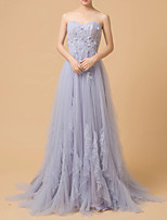 cheap -A-Line Strapless Court Train Tulle Luxurious / Purple Engagement / Prom Dress with Beading / Ruffles / Appliques 2020