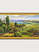 cheap -Framed Art Printing Country Side Landscape Oil Painting With Wooden Frame Vintage Antique Wall Picture