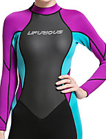 cheap -Women's Full Wetsuit 3mm SCR Neoprene Diving Suit Thermal / Warm Stretchy Long Sleeve Back Zip - Diving Water Sports Patchwork Autumn / Fall Spring Summer / Winter / High Elasticity