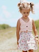 cheap -Baby Girls' Basic Floral Sleeveless Regular Clothing Set Blushing Pink