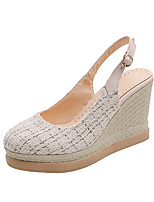 cheap -Women's Sandals Wedge Heel Round Toe Polyester Classic / Minimalism Fall / Spring & Summer Black / Beige