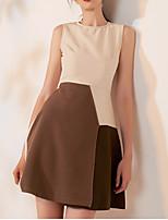 cheap -A-Line Jewel Neck Short / Mini Spandex Color Block / White Cocktail Party / Wedding Guest Dress with Split 2020