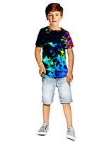 cheap -Kids Boys' Active Punk & Gothic Color Block 3D Plaid Short Sleeve Tee Black