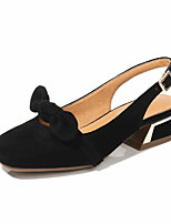 cheap -Women's Sandals Chunky Heel Round Toe Suede Spring & Summer Black / Almond