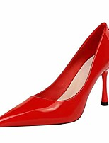 cheap -Women's Heels Stiletto Heel Pointed Toe Faux Leather Casual / Minimalism Spring / Summer Black / Nude / Red