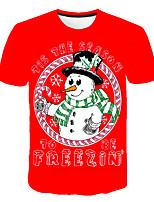 cheap -Kids Boys' Basic Street chic Santa Claus Snowman Color Block 3D Christmas Print Short Sleeve Tee Red