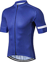 cheap -21Grams Men's Short Sleeve Cycling Jersey 100% Polyester Blue Stripes Bike Jersey Top Mountain Bike MTB Road Bike Cycling UV Resistant Breathable Quick Dry Sports Clothing Apparel / Stretchy