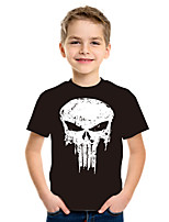 Недорогие -Дети Мальчики Классический Уличный стиль Геометрический принт Контрастных цветов 3D С принтом С короткими рукавами Футболка Черный