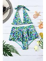 cheap -Women's Basic Green Halter Skirt Cheeky Bikini Swimwear - Floral Peplum Backless Lace up S M L Green