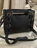 cheap -Women's Zipper PU Top Handle Bag Solid Color Black