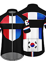 cheap -21Grams Men's Short Sleeve Cycling Jersey 100% Polyester Black / Red Bule / Black Black / Yellow France Germany Canada Bike Jersey Top Mountain Bike MTB Road Bike Cycling UV Resistant Breathable