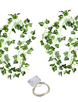 cheap -30LED 2*210cm Simulation Rattan Wall Hanging Ornament Artificial Plants Creeper Vine Plastic Green Leaf Ivy DIY Wedding Garland Decor