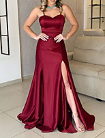 cheap -A-Line Sweetheart Neckline Sweep / Brush Train Charmeuse Sexy / Red Formal Evening / Wedding Guest Dress with Split 2020